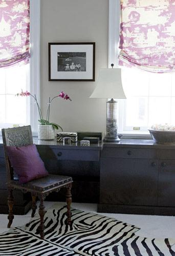 Purple Toile Eclectic Den Library Office Elizabeth Martin Design