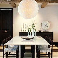 Emily Summers Design Associates - dining rooms - white, modern, pendant, light, glossy, white, lacquer, modern, dining, table, black, Knoll, Risom, dining, chairs, black, parachute, straps, black, buffet, striped, rug, exposed, wood, beams, black, door, modern, contemporary, dining room,