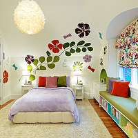 Douglas Design Studio - girl's rooms - ivory, flokati, rug, tufted, bed, purple, duvet, pink, red, green, purple, velvet, pillows, white, nightstands, lamps, shades, ribbon, trim, white, pendant, green, window, seat, cushion, built-in, window, seat, bookcase, storage, white, pink, red, purple, blue, floral, roman shade, built-in, desk, nook, red, green, purple, floral, stencil, wall, art,