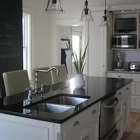 House &amp; Home - kitchens - black, chalkboard, accent, wall, leather, counterstools, white, kitchen, cabinets, black, granite, countertops, glass, bell, pedants, lights, kitchen, Pottery Barn Rustic Glass Pendant,