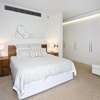 bedrooms - neutral, bedroom, built-in storage,  Neutral colours  Soft, serene bedroom with wood headboard and mural.