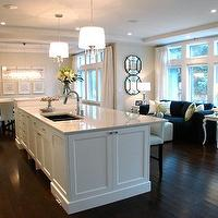 House & Home - kitchens - white, granite, countertops, white, kitchen, island, white, drum, pendant, lights, espresso, stained, wood, floors, parson, counterstools, barstools, gray, beige, walls, paint, color, kitchen, white granite countertops, white granite,