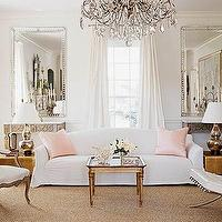 Zoldan Interiors - living rooms - white hot w/ pink, pink pillows, pink silk pillows,  White Hot