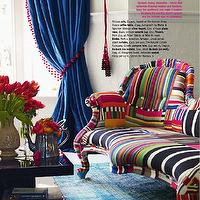 Living Etc - living rooms - stripes, bright, sofa, pink, blue, rug, table, drapes, tassel, striped chairs,  Blue velvet drapes, red pom poms,
