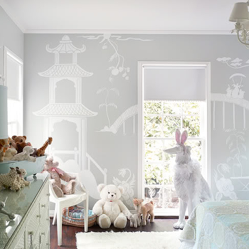 Martensen Jones Interiors - girl's rooms - chinoiserie mural, chinoiserie wall mural, kids wall mural, gray walls, chic girls room, chic girls bedroom, Kartell Louis Chair,