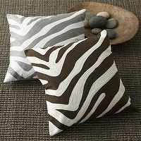 Pillows - Zebra Pillow Cover | west elm - gray, zebra, pillow