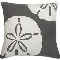 Pillows - Sand Dollar Charcoal Pillow from the Outdoor Collection by Thomas Paul - sand dollar, gray, pillow
