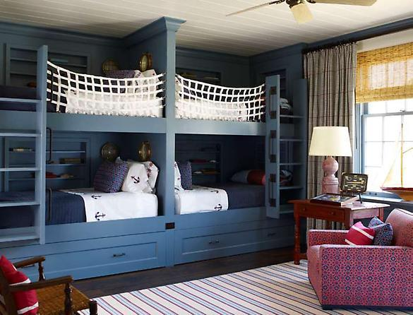 S.R. Gambrel - boy's rooms - blue, double, bunk, beds, white, fish net, white, blue, nautical, bedding, small, porthole, mirrors, ivory, blue, striped, rug, red, table, lilac, lamp, red, blue, club, chair, bamboo, roman, shades, gray, curtains, drapes, beadboard, ceiling, ceiling, fan, bunk bed ladders, removable bunk bed ladders, white bunk bed ladders, bunk beds, built in bunk beds, boys bunk beds, boys built in bunk beds, boys beds, blue bunk beds, blue built in bunk beds,