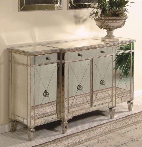 Borghese Wood Buffet Server W Antique Silver Tone Finish