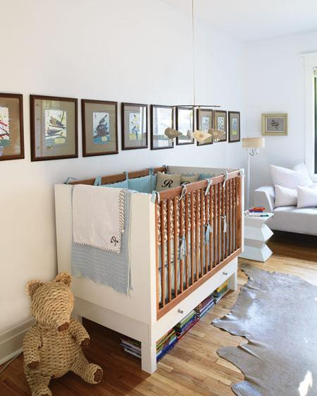House &amp; Home - nurseries - white, modern, crib, gray, brown, taupe, cowhide, rug, white, crib, brown, gallery, frames, art, gallery, white, geometric, stool, table, white, modern, sofa, boy&#039;s nursery,