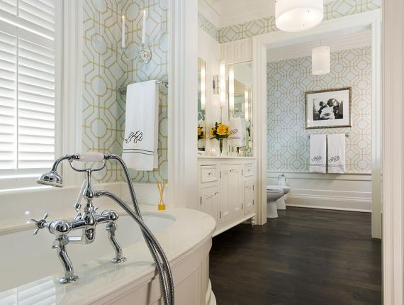 Taylor Hannah Architect - bathrooms - Brewster Heather Geometric Wallpaper, heather geometric wallpaper, geometric wallpaper, blue and brown wallpaper, blue and brown geometric wallpaper, bathroom wallpaper, master bathroom wallpaper, oval bathtub, paneled bathtub, bathroom with wood floors, bathroom with hardwood floors,