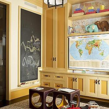 S.R. Gambrel - boy's rooms - world map, white drum iron pendant, playroom, playroom ideas, playroom chalkboard, play room chalkboard, playroom map, playroom world map, yellow cabinets, yellow built ins, yellow built in cabinets, , Square Tube Chandelier,