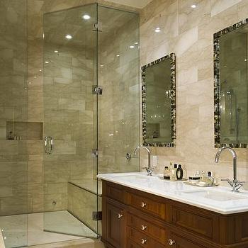 Taylor Hannah Architect - bathrooms - mother of pearl mirrors, his and her sinks, stained vanity, stained bathroom vanity, stained washstand, stained double washstand, glass shower, walk in shower, Oly Studio Mother of Pearl Mirror,