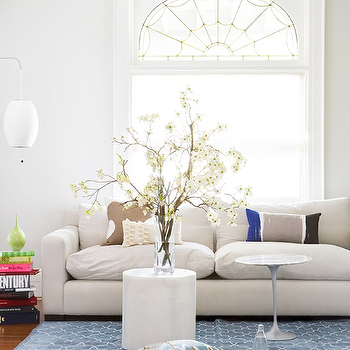 Virginia Macdonald Photography - living rooms - trellis rugs, blue trellis rugs, white and blue trellis rugs, moorish tile rig, blue moorish tile rug, modern sofa, saarinen side table, Saarinen Side Table,