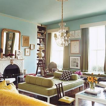 Domino Magazine - living rooms - domino living room, turquoise walls, turquoise blue walls, green curtains, green drapes, green bench, Keywest Chocolate Slub fabric,