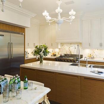 Taylor Hannah Architect - kitchens - veneer cabinets, veneer kitchen cabinets, two tone cabinets, two tone kitchen cabinets, white countertops, white quartz countertops, white marble backsplash, veneer kitchen island, veneer center island,