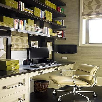 S.R. Gambrel - dens/libraries/offices - shelves over desk, shelving over desk, grasscloth wallpaper, office grasscloth wallpaper, Eames Soft Pad Management Chair,