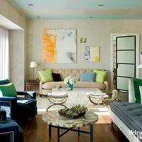 living rooms - Living roomm tufted, sofa, blue, chairs, green pillows, abstract, art,  Long narrow living room