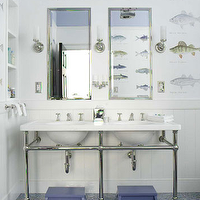 Shaun Jackson Design - bathrooms - white, beadboard, fish, wallpaper, silver, mirrors, double, marble, sinks, chrome, pedestal, base, chrome, sconces, blue, stools, blue, tiles, floors, boy&#039;s bathroom,
