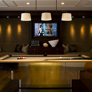 Ted Yarwood - media rooms - pool table, metal pool table, basement pool room, billiard lighting, pool table lighting, game room, game room ideas, games room, games room ideas, Bryant Billiard Light,