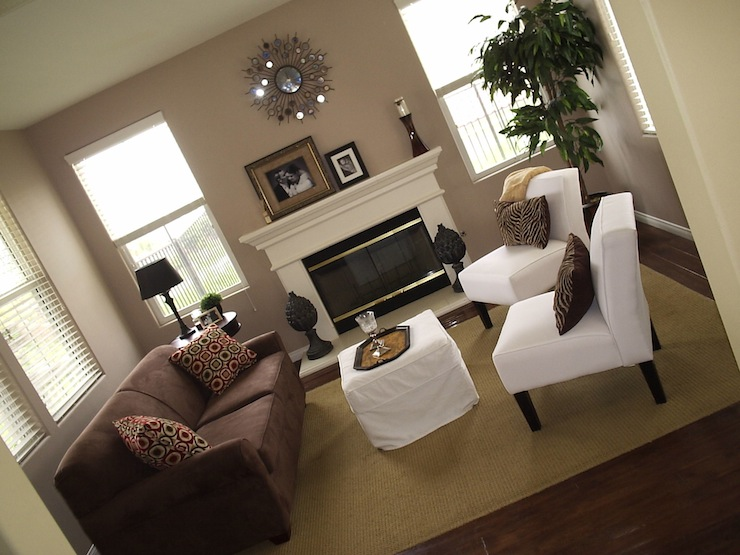 Taupe walls contemporary living room What color furniture goes with beige walls
