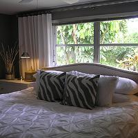 bedrooms - Upholstered Headboard, bed in front of window, pintuck duvet, pintuck comforter, pin tuck duvet, pin tuck comforter, white pintuck duvet, white pintuck comforter, white pin tuck duvet, white pin tuck comforter, West Elm Pintuck Duvet, West Elm Zebra Pillows,