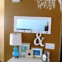entrances/foyers - Behr Wilmington Tan, entry table, mirror, decal, tree, white, brown, blue,  Entry table, lamp from Home Goods, vinyl tree