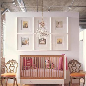 nurseries - art over crib, two tone crib,  Love the chairs and how simple this is yet looks great   Modern crib, chairs, photo gallery, crystal