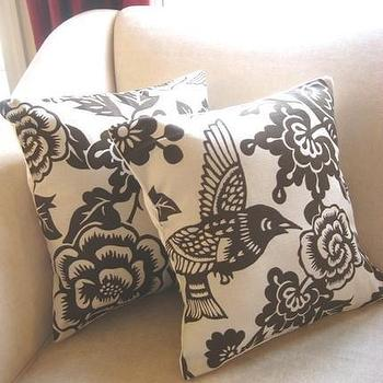 Pillows - 16 x 16 inch Brown Bird and Floral Print Pillow by colorandscheme - brown, bird, pillow, pillows