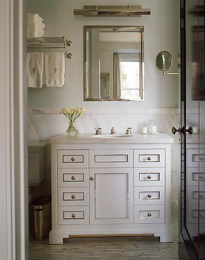 S.R. Gambrel - bathrooms - train rack, towel train rack, towel rack over toilet, towel rack above toilet, inset medicine cabinet, white marble backsplash,