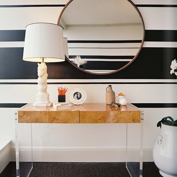 Pieces Inc - entrances/foyers - lucite console table, lucite desk, lucite desks, striped walls, black and white striped walls, horse lamp, horse table lamp, Jonathan Adler Bond Desk,