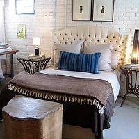 Nickey Kehoe - bedrooms - velvet tufted headboard, ivory velvet headboard, ivory velvet headboard, ivory tufted headboard, ivory velvet tufted headboard, exposed brick wall, basement bedroom, white brick walls, basement bedroom ideas,