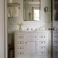 S.R. Gambrel - bathrooms - white, bathroom, vanity, calcutta, marble, countertops, backsplash, silver, beveled, mirror, chrome, hardware, glass, tiles, floors, bathroom,
