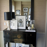 Ron Marvin - entrances/foyers - gallery frames, glass, hurricane, black, mirror, vintage lamps, vintage table lamps, alabaster lamps, alabaster table lamps, vintage alabaster lamps, foyer wallpaper, wallpaper for foyer, grasscloth wallpaper, black console table, chinese console table, foyer table, black foyer table,