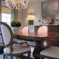 dining rooms - roman shade, gray, walls, french table, french dining table, trestle dining table, french dining chairs, upholstered dining chairs, round back dining chairs, antiqued mirror,