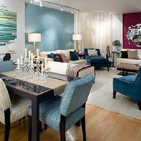 Candice Olson - living rooms - Living room, Divine Design, Candice Olson, Blue, velvet, chairs, shag, rug, abstract, art, white, sofa, sectional, sofa, candice olson living room, candice olson living rooms, candice olson rooms, candace olson design, candice olson interior design, candice olson,