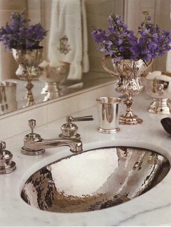 Circa Interiors & Antiques - bathrooms - Hammered Silver Sink, hammered sink, oval sink, oval bathroom sink, hammered oval sink,  Jane Schwab,