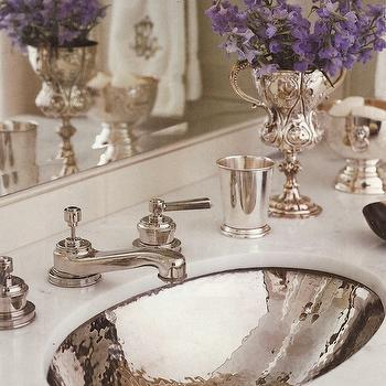 Circa Interiors & Antiques - bathrooms - hammered sink, oval sink, oval bathroom sink, hammered oval sink, Hammered Silver Sink,  Jane Schwab,