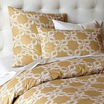 Bedding - Organic Carved Circles Duvet Cover + Shams | west elm - gold, circles, duvet, bedding