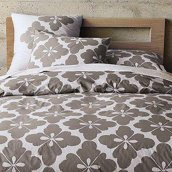 Bedding - Clover Duvet Cover + Shams | west elm - gray, clover, duvet, bedding