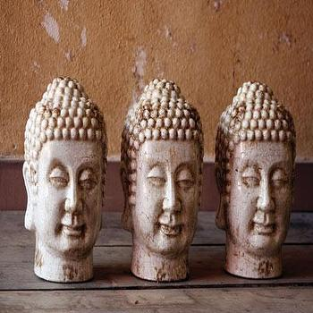 Decor/Accessories - Buddha heads \ white - buddha, head, statue