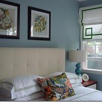 bedrooms - greek key shade, greek key roman shade, white and green roman shade, tufted headboard, chiang mai pillow, turquoise gourd lamp, white and green bedding, Chiang Mai Dragon Fabric - Aquamarine,