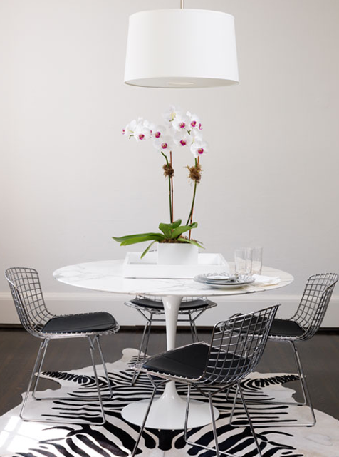 Ferreira Design - dining rooms - Saarinen Table, Bertoia Side Chair with Vinyl Seat Pad, bertoia chairs, bertoia dining chairs, marble saarinen table, marble saarinen dining table, zebra cowhide rug,