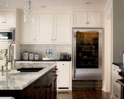 Caden Design Group - kitchens - glass front fridge, glass front refrigerator, two tone cabinets, ceiling height cabinets, ceiling height kitchen cabinets, subway tiles, subway tiled backsplash,