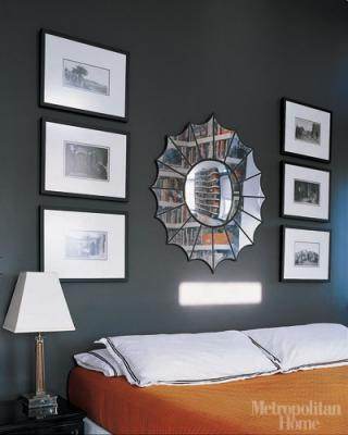 Elle Decor - bedrooms - spiderweb mirror, spider web mirror, orange bedspread, gray and orange bedroom,  Jeffery Povero - orange & charcoal gray
