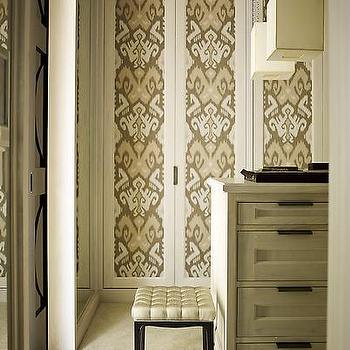 Wallpapered Closet Doors, Transitional, closet, S.R. Gambrel