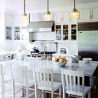 Madeline Stuart - kitchens - white bar stools, white counter stools, vintage schoolhouse pendants, mini schoolhouse pendants,  Cozy coastal kitchen