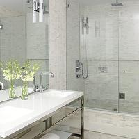 Style at Home - bathrooms - quartz, bathroom, countertop, polished chrome, fixtures, modern, sconces, frameless, glass, shower, tumbled, marble, tiles, shower surround, modern, bathroom, master bath shower, master bath showers, master bath shower design, master bath shower designs, Tumbled Marble, Quartz,