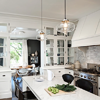 Jessica Helgerson Interior Design - kitchens - black, Cherner, barstools, counter stools, backsplash, glass, lantern, pendants, marble, countertops, white, glass-front, kitchen cabinets, pot filler, marble, tiles, backsplash,