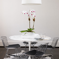 Ferreira Design - dining rooms - bertoia chairs, bertoia dining chairs, marble saarinen table, marble saarinen dining table, zebra cowhide rug, Saarinen Table, Bertoia Side Chair with Vinyl Seat Pad,
